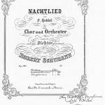 """1850 - Autograph des """"Nachtlied"""" mit Widmung Robert Schumanns."""