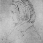 1853 - Der junge Johannes Brahms, nach einer Silberstiftzeichnung von Jean-Joseph-Bonaventure Laurens, ent- standen im Hause Robert Schumanns auf der Bilkerstr. 1035 (heute 15).