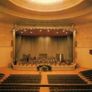 Das Podium der Rheinhalle aus den Jahren 1960-1978. Konzertpodium im Schmuck.