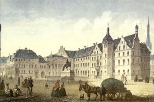 1860 - Marktplatz in einer prachtvollen Ansicht mit Tußmannbau Jan-Wellem und Theater.
