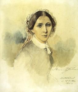 Clara Schumann: (Aquarellierte Zeichnung, 16. 10. 1853, von Jean-Joseph-Bonaventure Laurens).