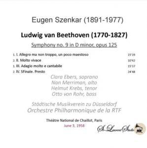 1958: 9. Symphonie in Paris mit Eugen Szenkar